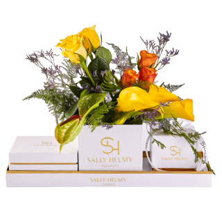 Pretty In Yellow Flowers With Candle And Chocolate-Sally Helmy - Egypt